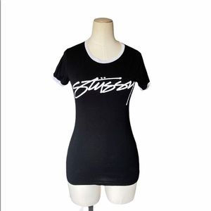 Stussy T-Shirt Black Retro Style Small Spell Out